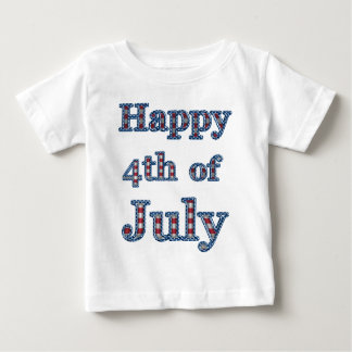 Happy 4th of July Stars & Stripes Text Design Baby T-Shirt