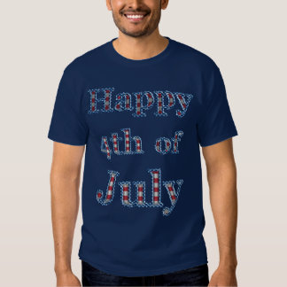 Happy 4th of July Stars & Stripes Text Design T-Shirt
