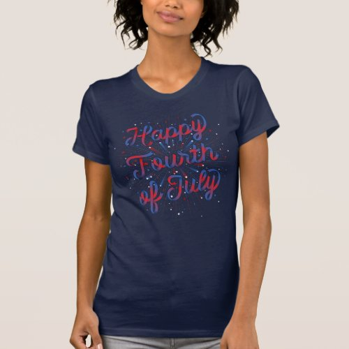 Happy 4th of July T_shirt Dk Blue Red Gradient