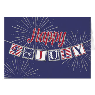 Happy 4th of July - Text Banner on Blue Card
