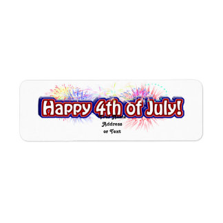 Happy 4th of July Text Design w/Fireworks Label