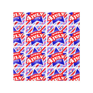 Happy 4th of July Theme Pattern Canvas Print