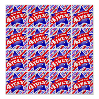 Happy 4th of July Theme Pattern Poster
