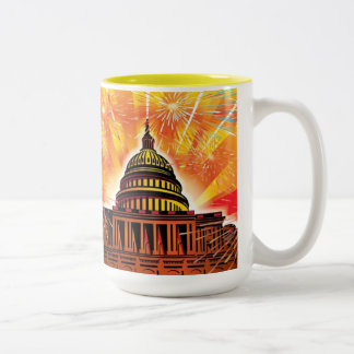 Happy 4th of July Two-Tone Coffee Mug