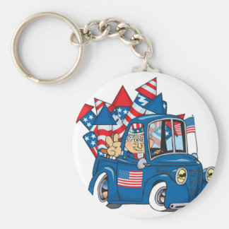Happy 4th of July Uncle Sam In Pickup Keychain