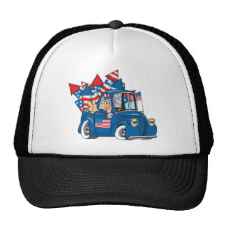 Happy 4th of July Uncle Sam In Pickup Trucker Hat