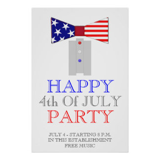 Happy 4th Of July USA Bow Tie Poster