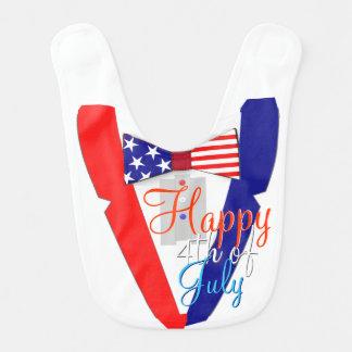 Happy 4th of July USA Bowtie Tuxedo Baby Bib