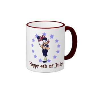 Happy 4th of July Vintage Art Ringer Mug