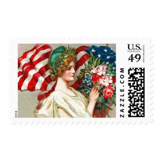 Happy 4th of July. Vintage Design Postage Stamps
