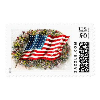 Happy 4th of July. Vintage Design Postage Stamps