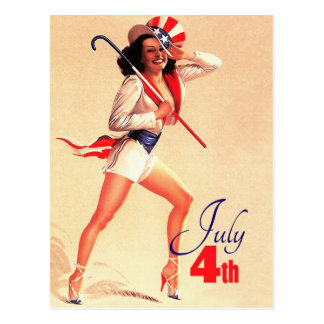 Happy 4th of July. Vintage Pin-up Design Postcards