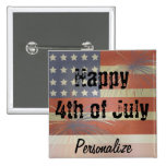 Happy 4th of July | Vintage Style 2 Inch Square Button