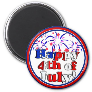 Happy 4th of July with Fireworks 2 Inch Round Magnet