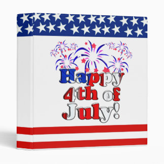 Happy 4th of July with Fireworks 3 Ring Binder