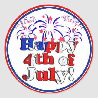 Happy 4th of July with Fireworks Classic Round Sticker