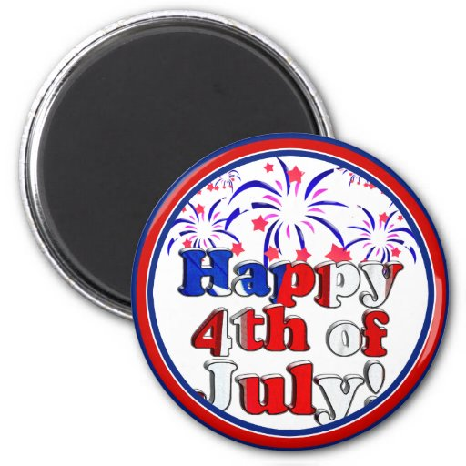 Happy 4th of July with Fireworks Magnet