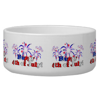 Happy 4th of July with Fireworks Dog Food Bowl