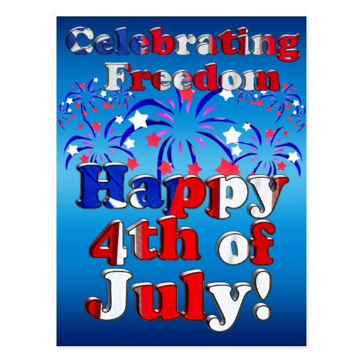 Happy 4th of July with Fireworks Postcard