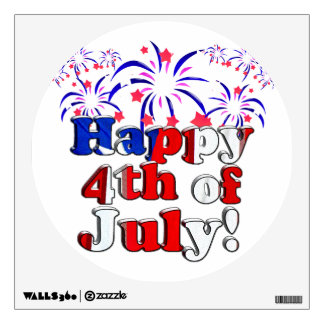 Happy 4th of July with Fireworks Wall Sticker
