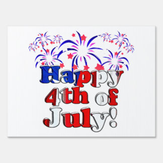 Happy 4th of July with Fireworks Lawn Sign
