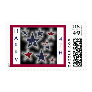 Happy 4th Patriotic Stars Postage