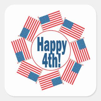 Happy 4th square sticker