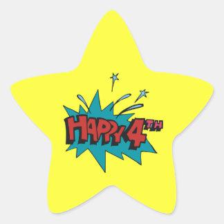 Happy 4th star sticker