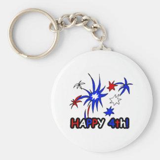 Happy 4th (Stars) Keychain