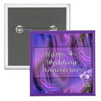 Happy 4th. Wedding Anniversary 2 Inch Square Button