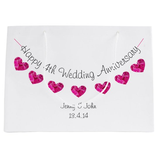 Happy 4th Wedding Anniversary Heart Flower Bunting Large Gift Bag Zazzle Com