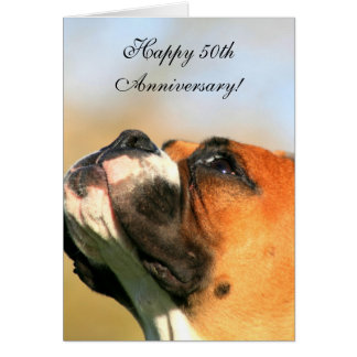 Happy 50th Anniversary Boxer Dog Greeting Card