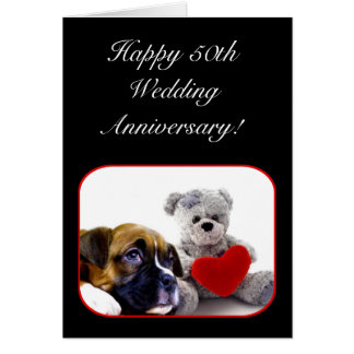 Happy 50th Anniversary Boxer Greeting Card