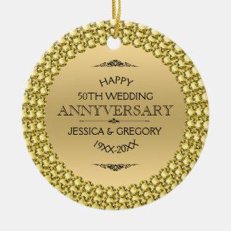 Happy 50th Anniversary Diamonds & Gold Ceramic Ornament