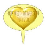 Happy 50th Anniversary gold glass heart Cake Picks