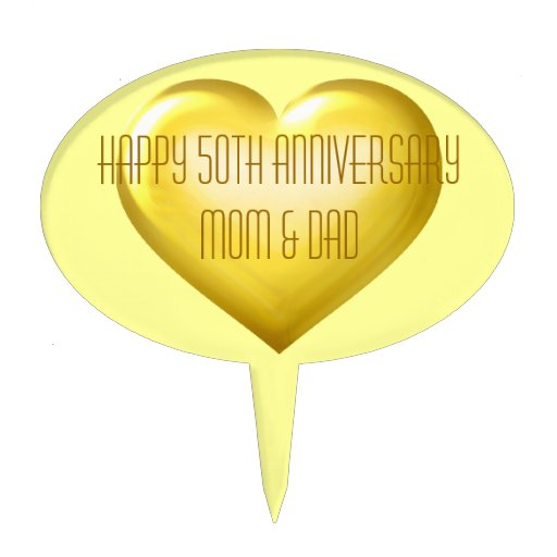 Happy 50th Anniversary gold glass heart Cake Toppers