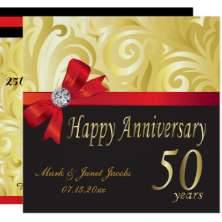 Happy 50th Anniversary | Gold Swirls Invitation