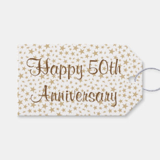 50th Wedding Anniversary Gift Tags : Happy 50th Anniversary Golden Stars Gift Tags