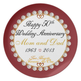 Happy 50th Anniversary Mom and Dad Plate