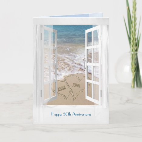 Happy 50th Anniversary open beach window Card