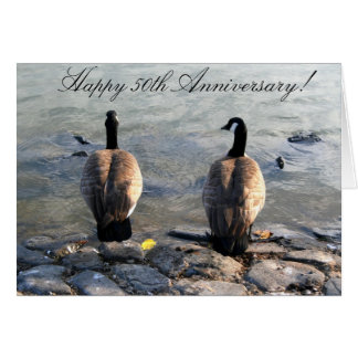 Happy 50th Anniversary Two Geese greeting card