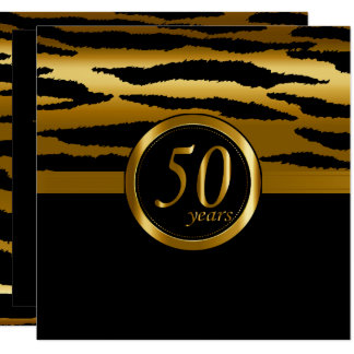 Happy 50th Anniversary Years | Zebra Pattern Invitation
