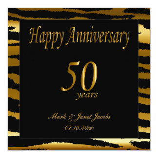 Happy 50th Anniversary | Zebra Stripes Invitation