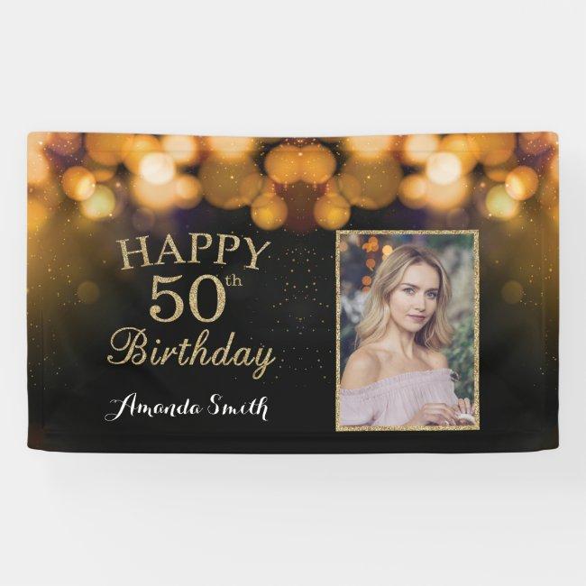 Happy 50th Birthday Banner. Gold Glitter Photo Banner