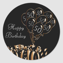 Happy 50th Birthday | Black Balloons Classic Round Sticker