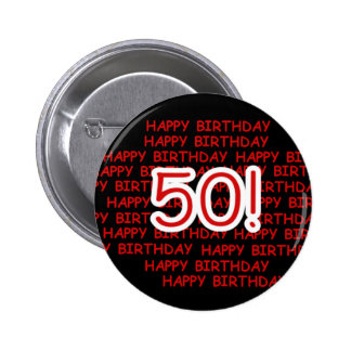 Happy 50th Birthday Buttons