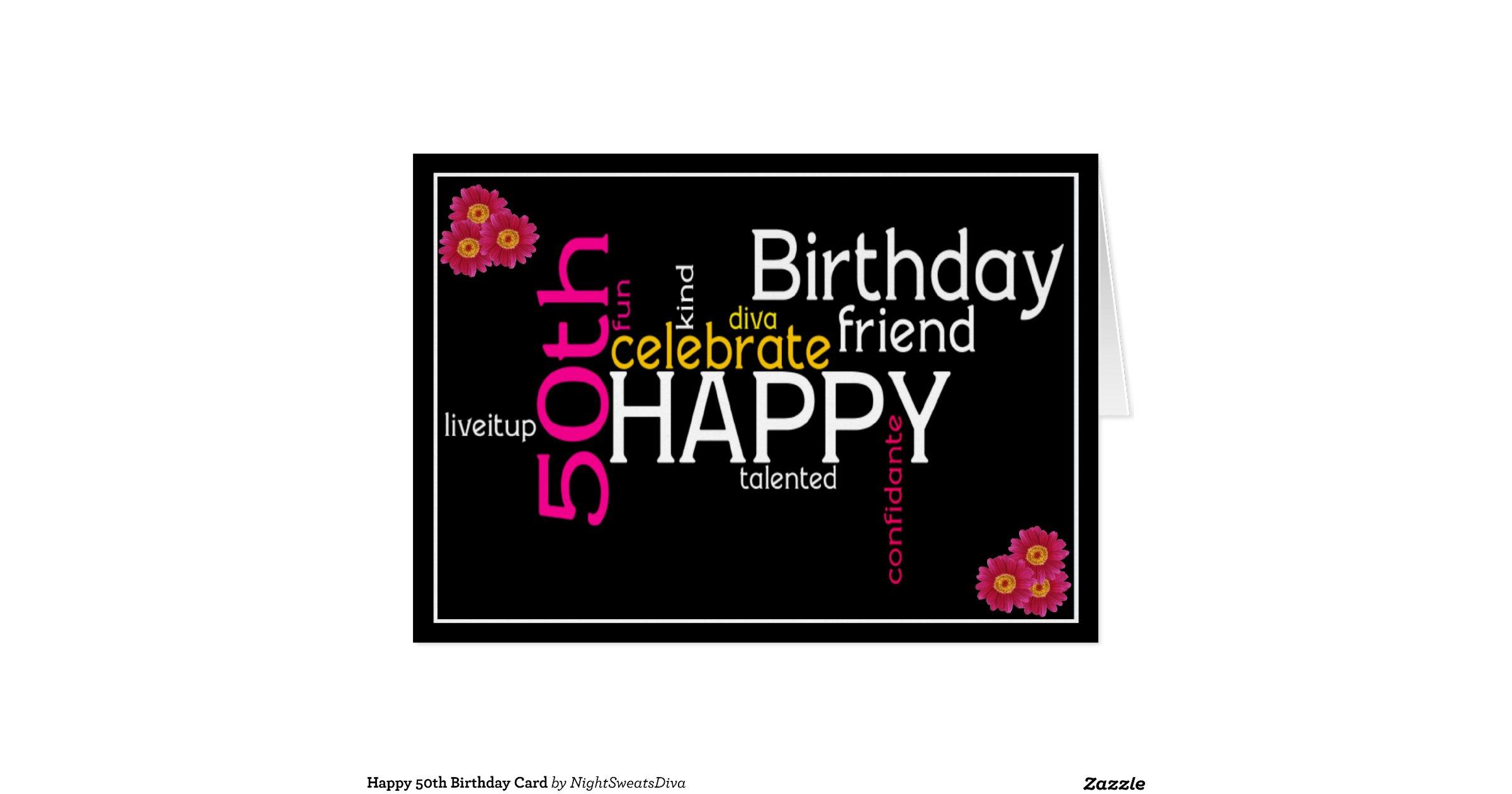 Happy 50th Birthday Card Free Birthday Cards