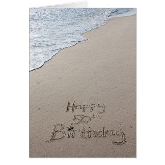 Happy 50th Birthday card beach sand nautical