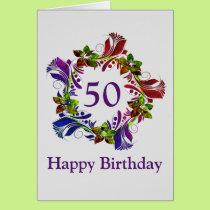 Happy 50th Birthday Card, Modern Floral Card