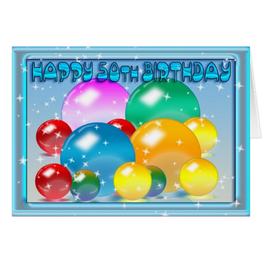 Happy 50th Birthday colours, colourful orbs Card